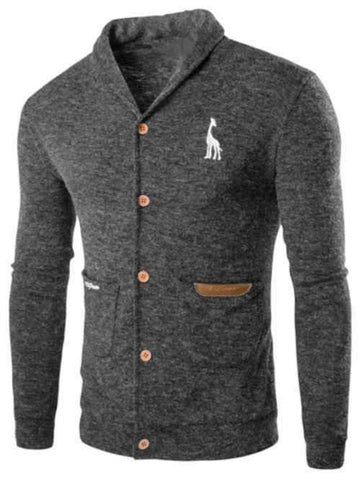 Men's Long Sleeve Turn Down Collar Cardigan - The Timeless Store