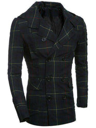 Men's Turn-Down Collar Checked Double-Breasted Plaided Coat - The Timeless Store