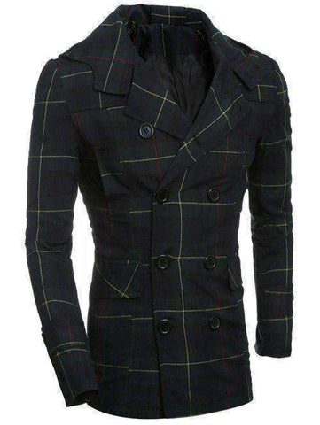 Men's Turn-Down Collar Checked Double-Breasted Plaided Coat