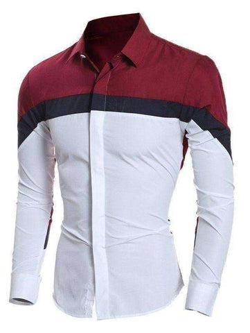 Men's Stripe Pattern Long Sleeve Shirt - The Timeless Store