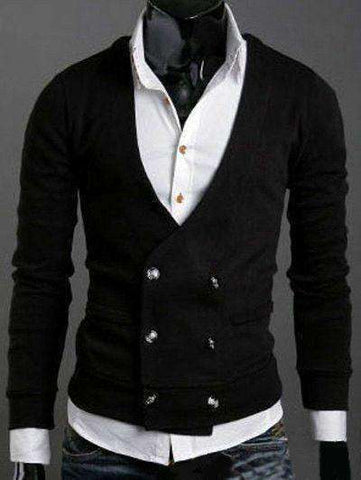Men's V-Neck Long Sleeves Double-Breasted Cardigan - The Timeless Store