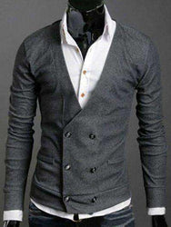 Men's V-Neck Long Sleeves Double-Breasted Cardigan
