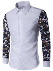 Men's Button Up Camo Contrast Sleeve Shirt