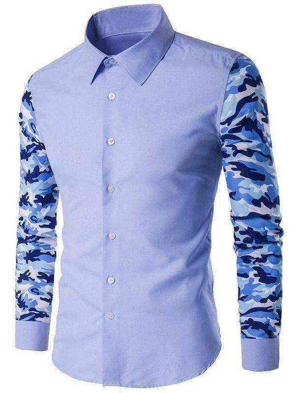 Men's Button Up Camo Contrast Sleeve Shirt - The Timeless Store