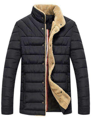 Men's Button Up Wool Quilted Jacket - The Timeless Store