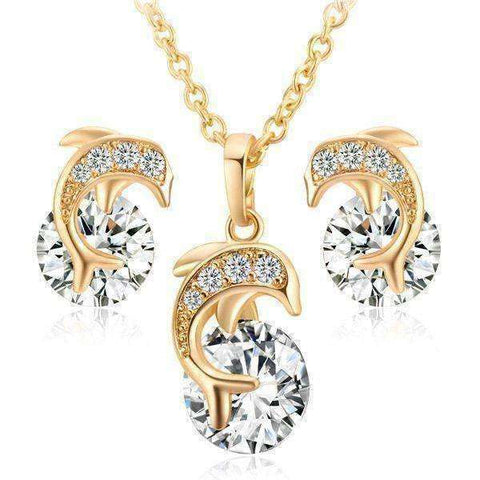 Dolphin Shaped Rhinestone Necklace and Earrings