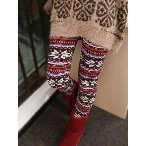 Women's Fleece Snowflake Patterned Leggings
