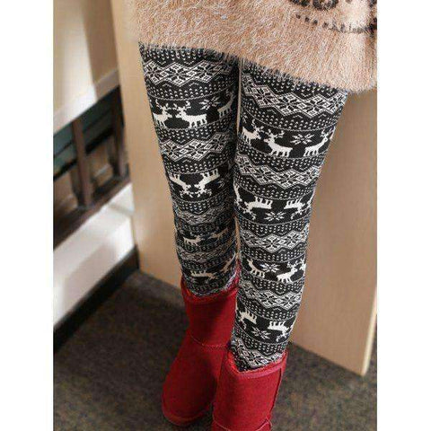 Women's Fleece Elk Patterned Leggings