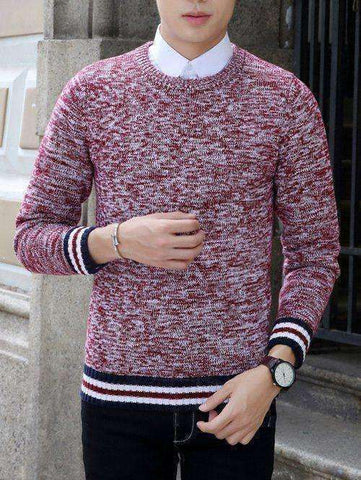 Men's Stripe Splicing Knit Blends Sweater