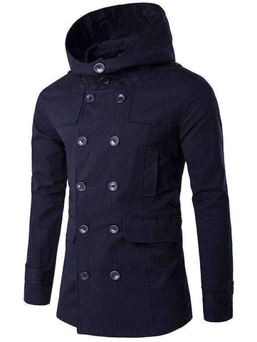 Men's Double Breasted Lapel Collar Hooded Coat - SOLD OUT - The Timeless Store