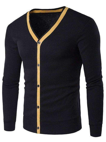Men's Contrast Trim Flat Knitted V Neck Cardigan