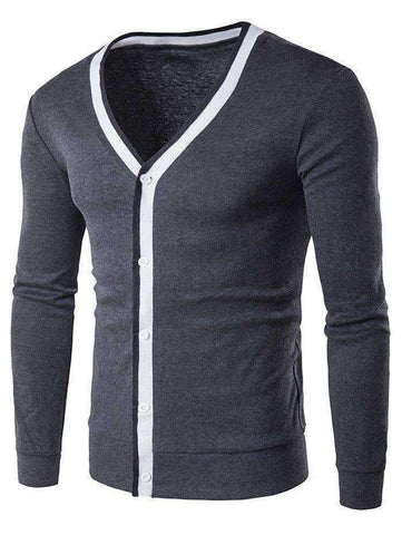 Men's Contrast Trim Flat Knitted V Neck Cardigan - The Timeless Store