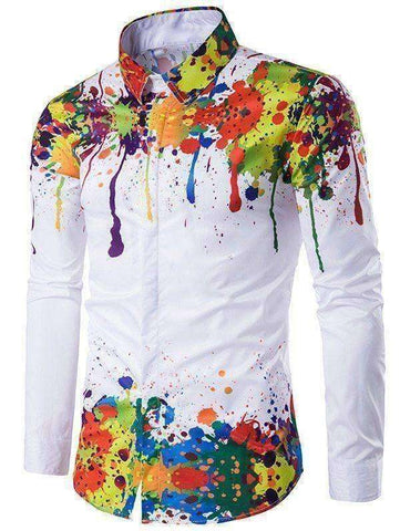 Men's Colorful Splatter Paint Pattern Long Sleeve Shirt - The Timeless Store