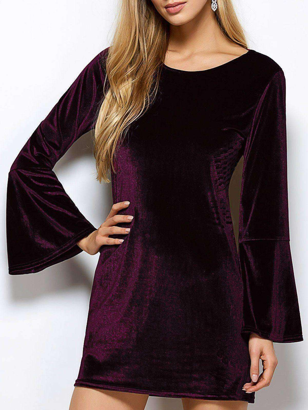 Women's Cut Out Velvet Dress - The Timeless Store
