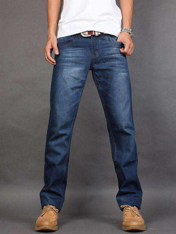 Men's Straight Fit Mid Waisted Zip Fly Jeans - The Timeless Store
