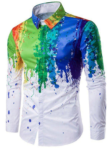 Men's Color Splattered Paint Long Sleeve