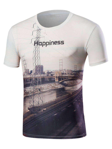 Men's 3D Railway Crew Neck T-Shirt