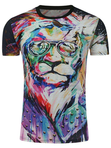 Men's Lion Oil Painting T-Shirt - The Timeless Store