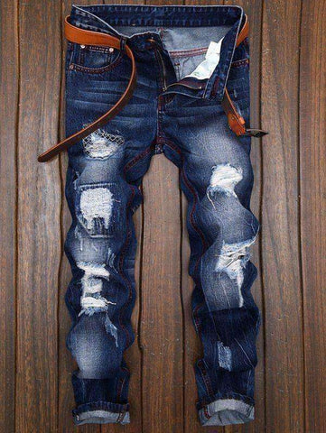 Men's Destroyed and Repaired Jeans