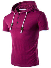 Men's Hooded Draw String Buttons T-Shirt