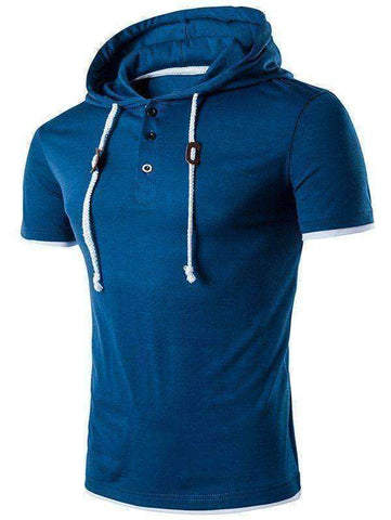 Men's Hooded Draw String Buttons T-Shirt - The Timeless Store