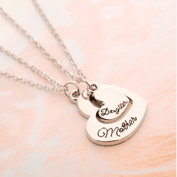 Love Between Mother And Daughter Heart Shaped Pendant Necklace