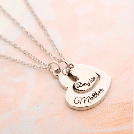 Love Between Mother And Daughter Heart Shaped Pendant Necklace - Timeless Store