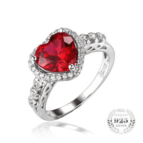 Heart Of Ocean 2.7ct Ruby 925 Sterling Silver Ring - The Timeless Store