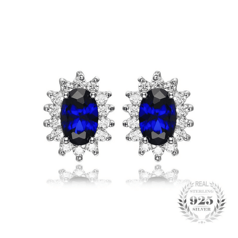 Princess Diana 1.5ct Sapphire Stud Earrings Pure 925 Sterling Silver