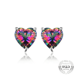 3ct Natural Mystic Rainbow Topaz Stud Earrings Genuine 925 Sterling Silver