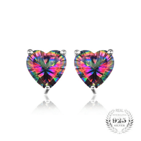 3ct Natural Mystic Rainbow Topaz Stud Earrings Genuine 925 Sterling Silver - The Timeless Store