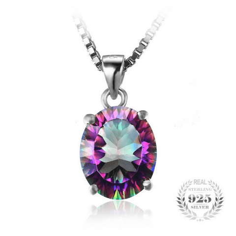 2.5ct Rainbow Fire Mystic Topaz Pendant 925 Sterling Silver Without Chain - The Timeless Store