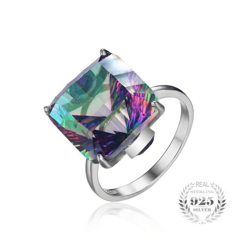 13ct Rainbow Fire Mystic Topaz Ring Solid 925 Sterling Silver - The Timeless Store