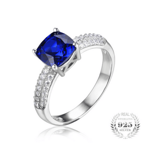 2.6ct Blue Sapphire Solitaire Ring 925 Sterling Silver Jewelry