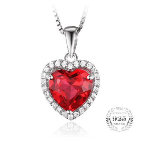 4.5ct Blood Red Gem Stone Ruby Pendant Heart Genuine Solid 925 Sterling Silver