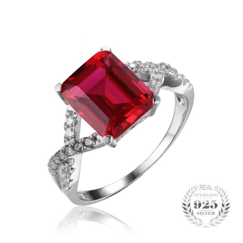 4.6ct Ruby Emerald Cut 925 Sterling Silver Ring - The Timeless Store