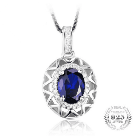 Blue Sapphire Pendant Genuine 925 Sterling Silver Without a Chain