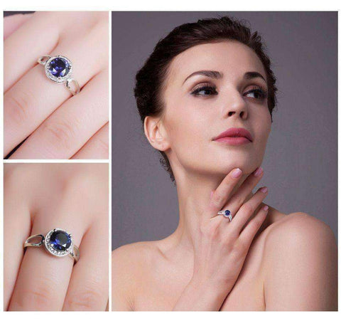 2.2ct Blue Sapphire Halo Ring Solid 925 Sterling Silver