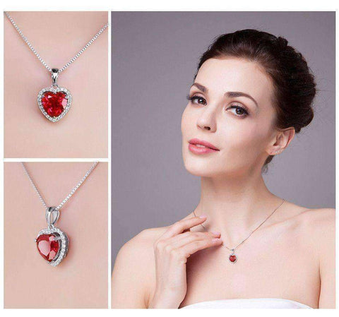 4.5ct Blood Red Gem Stone Ruby Pendant Heart Genuine Solid 925 Sterling Silver - The Timeless Store