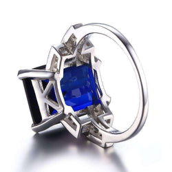 9.6ct Blue Sapphire Cocktail Ring Genuine 925 Sterling Silver