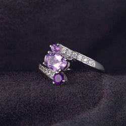 0.9ct Amethyst 925 Sterling Silver Ring