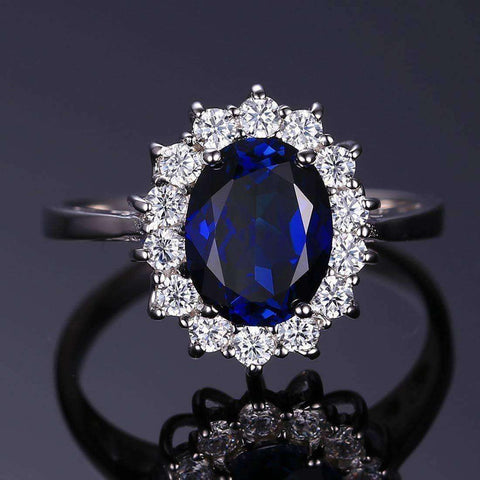 Princess Diana William 2.5ct Blue Sapphire Ring 925 Sterling Silver