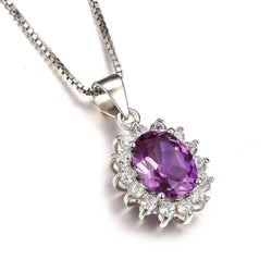 Princess Diana William Middleton's Alexandrite Sapphire Pendant 925 Sterling Silver Without a Chain