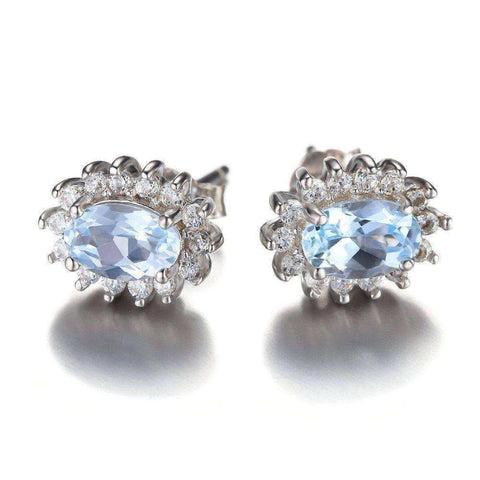 1.2ct Natural Blue Topaz Halo Stud Earrings 925 Sterling Silver
