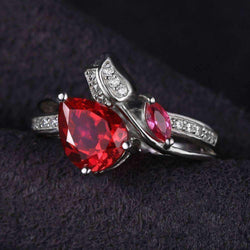 2.6ct Ruby Tear 925 Sterling Silver Ring