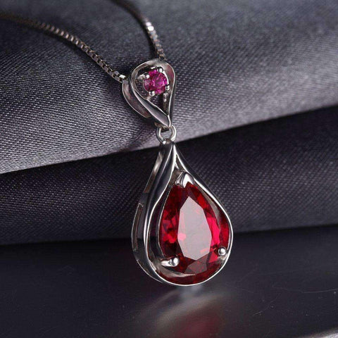 4ct Ruby Tear Drop 925 Sterling Silver Pendant Without a Chain - The Timeless Store