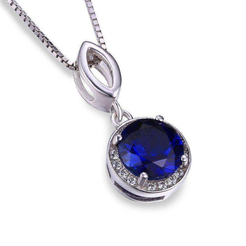 2.5ct Blue Sapphire Halo Pendant Solid 925 Sterling Silver Without a Chain