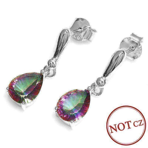 2ct Mystic Fire Rainbow Topaz Drop Earrings Solid 925 Sterling Silver