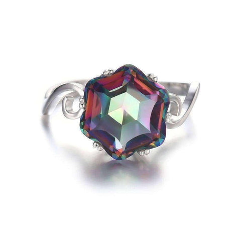 3.2ct Rainbow Fire Mystic Topaz Pure 925 Sterling Silver Ring - The Timeless Store