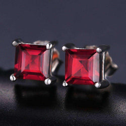 0.8ct Ruby 925 Sterling Silver Stud Earrings